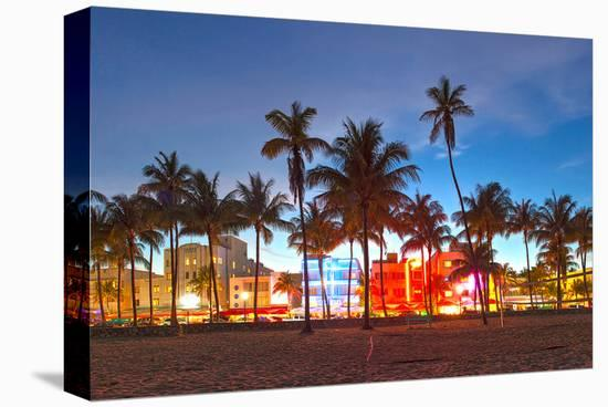 Miami Beach Hotels on Ocean Dr--Stretched Canvas Print