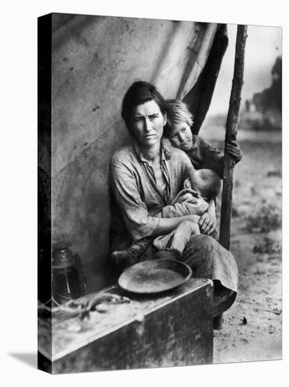 Migrant Mother Florence Thompson and Children Photographed by Dorothea Lange-Dorothea Lange-Stretched Canvas Print