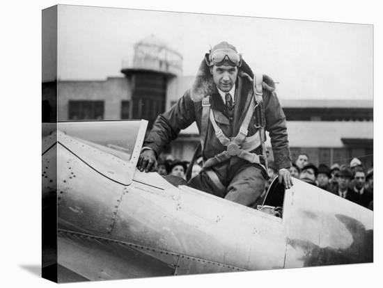 Millionaire Howard Hughes Boarding Hughes H-1 Special Airplane, Transcontinental Flight to NJ--Stretched Canvas Print