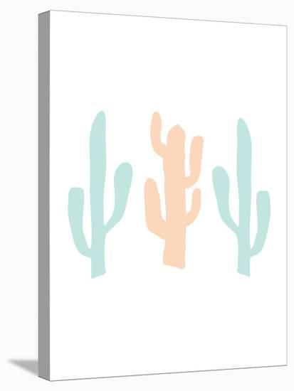Mint Peach Cactus-Jetty Printables-Stretched Canvas Print