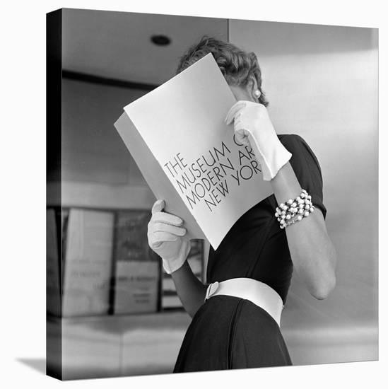 Model Jean Patchett Modeling Cheap White Touches That Set Off Expensive Black Dress-Nina Leen-Stretched Canvas Print