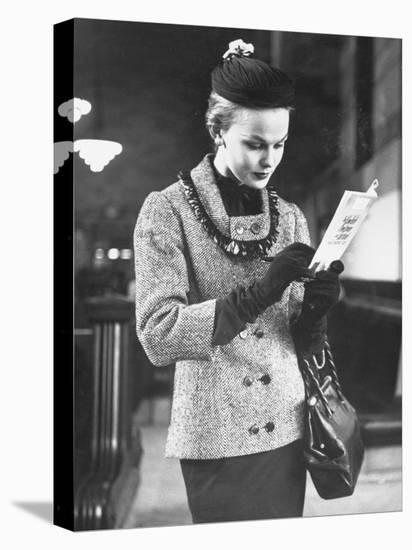 Model Posing in a Train Station While Wearing New Fashion-Gordon Parks-Stretched Canvas Print