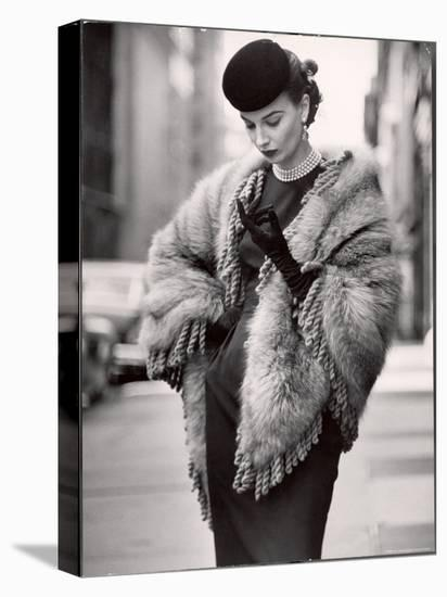 Model Wearing a Fringed Shawl Made of Natural Norwegian Blue Fox, Selling For $750-Gordon Parks-Stretched Canvas Print