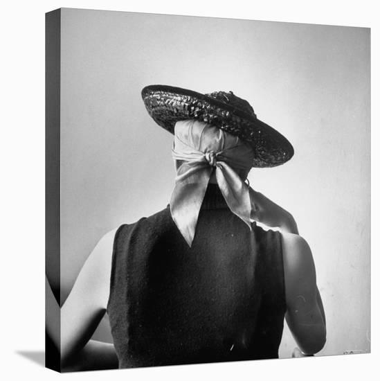 Model Wearing Bandanna Base under Straw Skimmer-Gordon Parks-Stretched Canvas Print