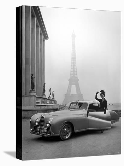 Model Wearing Jacques Fath Ensemble Beside 1947 Model Delahaye Automobile-Tony Linck-Stretched Canvas Print