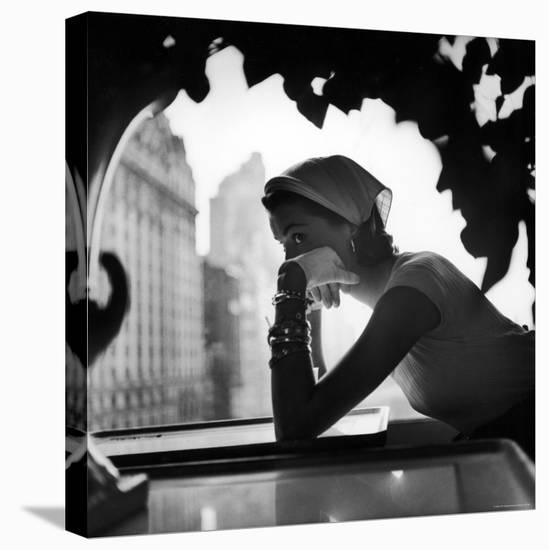 Model Wearing Nursemaid's Kerchief by Lilly Dache-Gordon Parks-Stretched Canvas Print