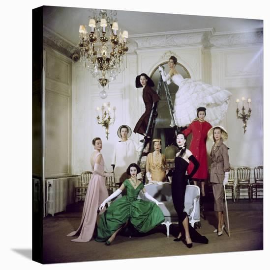 Models Posing in New Christian Dior Collection-Loomis Dean-Stretched Canvas Print