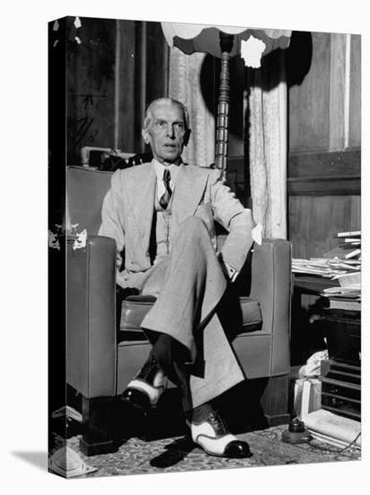 Mohammed Ali Jinnah, Pres. of India's Moslem League, Dressed in Western-Style Suit in his Study-Margaret Bourke-White-Stretched Canvas Print