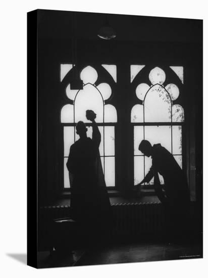 Monks Cleaning Windows of the Monastery's Sacristy-Gordon Parks-Stretched Canvas Print