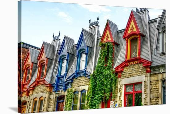 Montreal Victorian Color Gables--Stretched Canvas Print