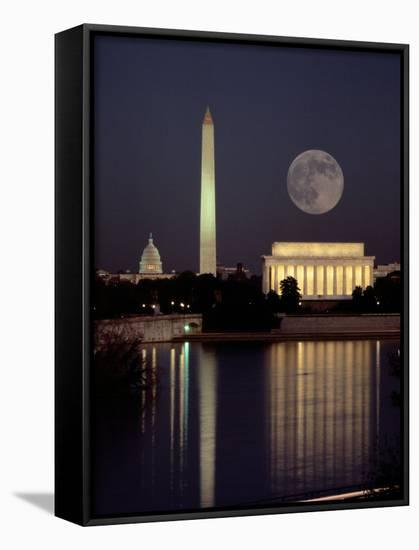 Moonrise over the Lincoln Memorial-Richard Nowitz-Framed Canvas Print