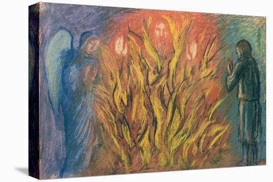 Moses & the burning bush, 1990-Hans Feibusch-Stretched Canvas Print