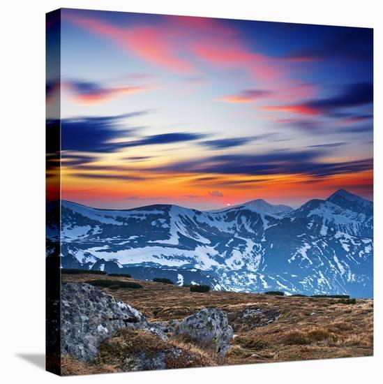 Mountain Sunset Landscape--Stretched Canvas Print