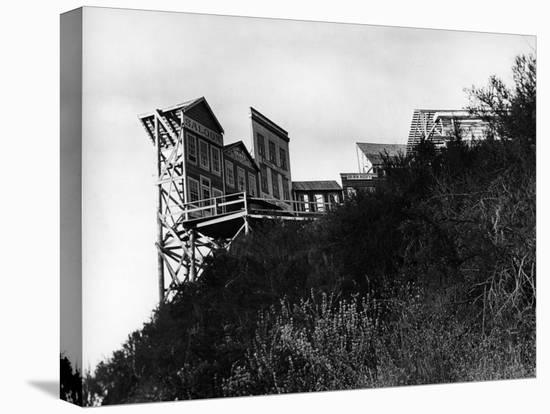 Movie Set Used in Production of Westerns Built on the Edge of a Hill of the Paramount Studios Ranch-Margaret Bourke-White-Stretched Canvas Print
