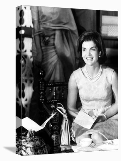 Mrs. John F. Kennedy During Her Tour of India-Art Rickerby-Stretched Canvas Print
