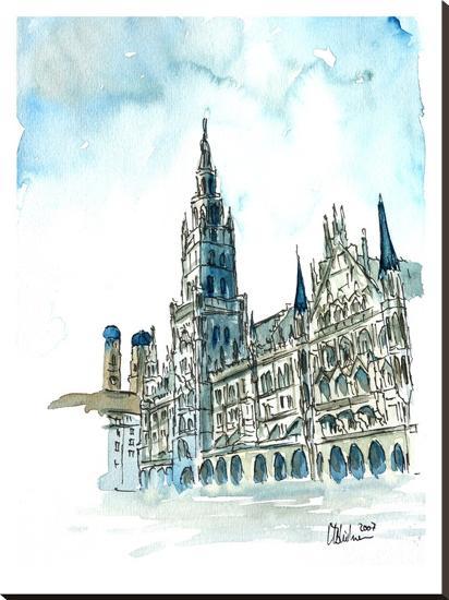 Munich City Hall Aquarell-M Bleichner-Stretched Canvas Print