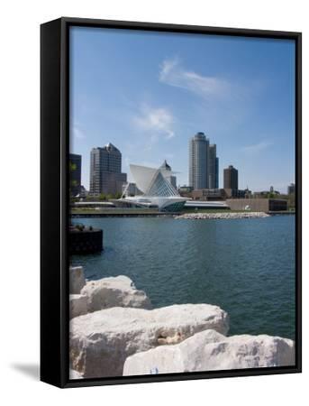 Museum at the Waterfront, Milwaukee Art Museum, Lake Michigan, Milwaukee, Wisconsin, USA--Framed Canvas Print
