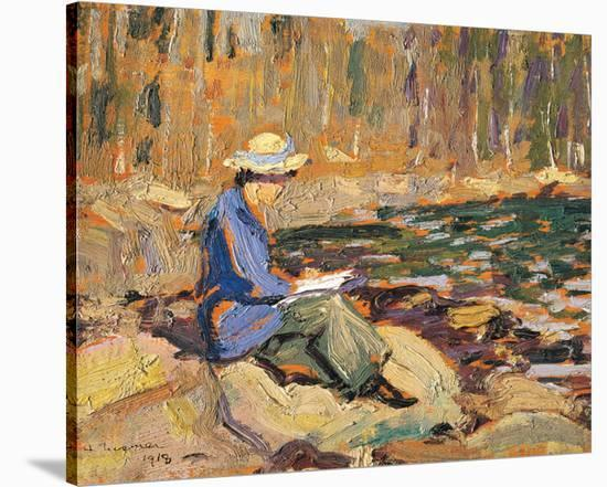My Wife, Sackville River-Arthur Lismer-Stretched Canvas Print