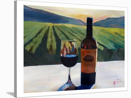 Napa Valley Wine Bottle And Glass-M Bleichner-Stretched Canvas Print