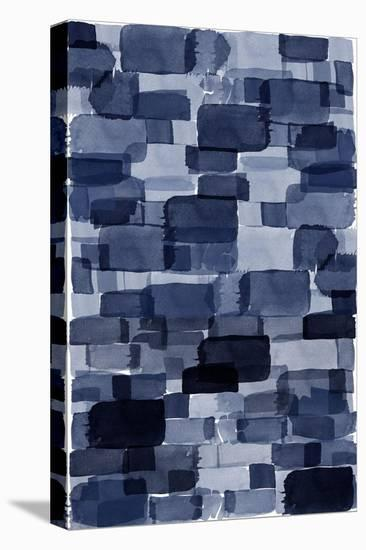 Navy Blue Watercolor Block-Urban Epiphany-Stretched Canvas Print