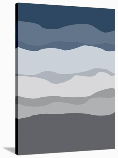 Navy Gray Abstract-Jetty Printables-Stretched Canvas Print