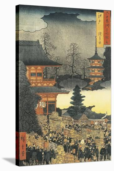 New Year's Eve Party in Asakusa, in the City of Edo, by Ando Hiroshige-Ando Hiroshige-Stretched Canvas Print