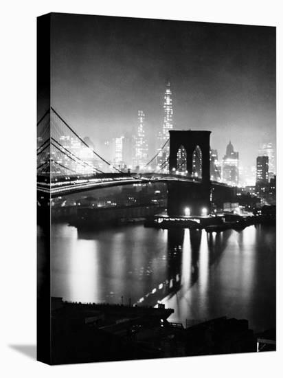 Night View of Nyc and the Brooklyn Bridge-Andreas Feininger-Stretched Canvas Print