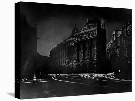 Nighttime View of Regent Street in the Piccadilly Circus Section of the City-Margaret Bourke-White-Stretched Canvas Print