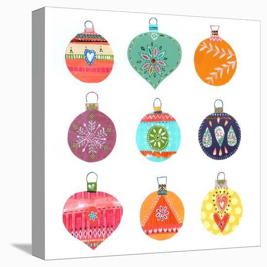 Nine Christmas Baubles--Stretched Canvas Print