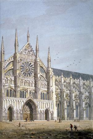 North Door of Westminster Abbey, London, C1810-George Shepherd-Stretched Canvas Print