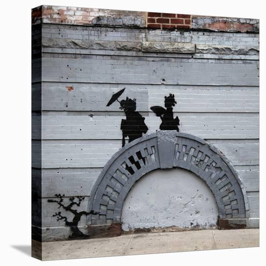 NYC Japanese Bridge-Banksy-Stretched Canvas Print