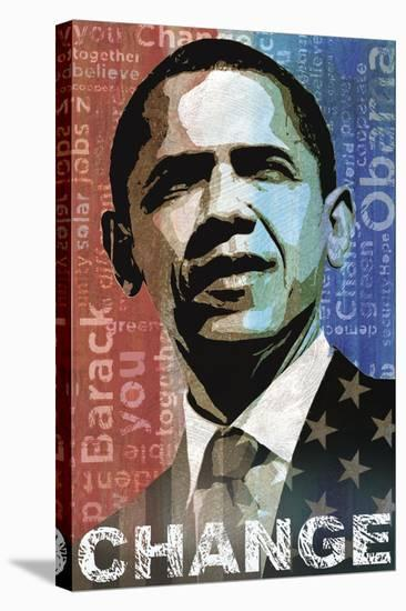 Obama: Change-Keith Mallett-Stretched Canvas Print