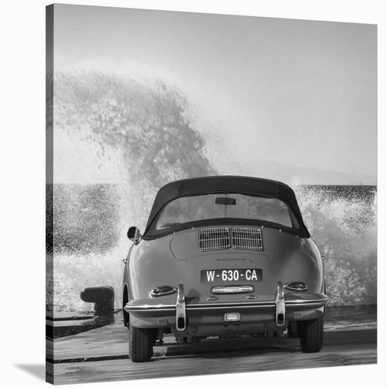 Ocean Waves Breaking on Vintage Beauties (BW detail 1)-Gasoline Images-Stretched Canvas Print