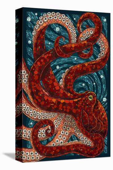 Octopus - Paper Mosaic-Lantern Press-Stretched Canvas Print