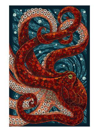 Octopus - Paper Mosaic-Lantern Press-Stretched Canvas Print