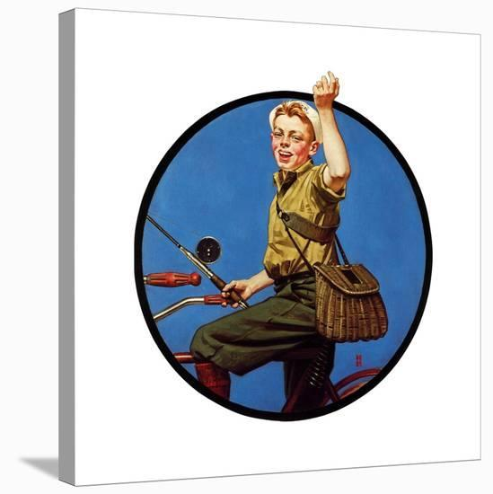 Off to Fish on a Bike-Norman Rockwell-Stretched Canvas Print