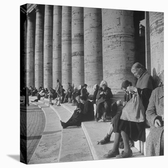 Old Italian Women Knitting While They Socialize in the Colonade of St. Peter's Square, Vatican City-Margaret Bourke-White-Stretched Canvas Print