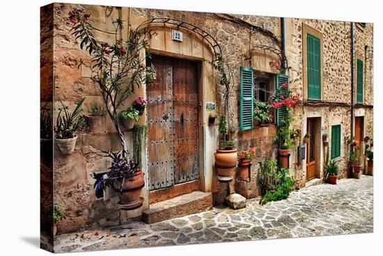 Old Mediterranean Towns Street--Stretched Canvas Print