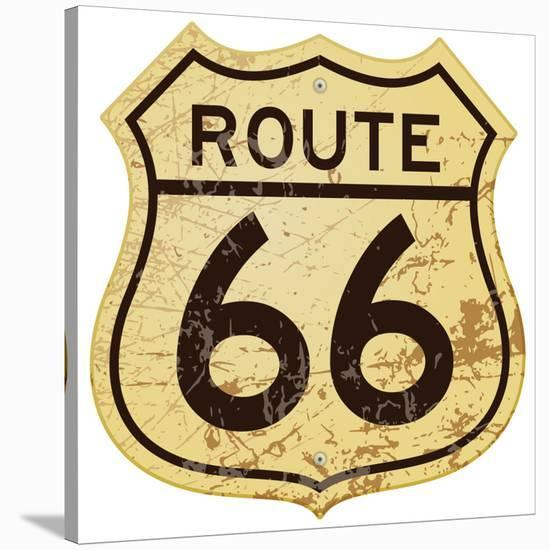 Old Rusty Route 66 Roadsign--Stretched Canvas Print