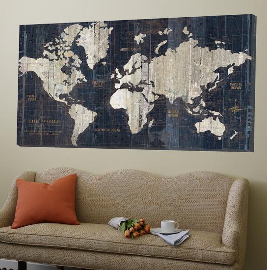 Old world map blue--Loft Art