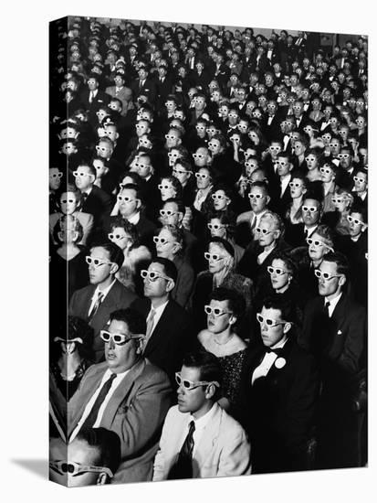 """Opening Night Screening of First Color 3-D Movie """"Bwana Devil,"""" Paramount Theater, Hollywood, CA-J. R. Eyerman-Stretched Canvas Print"""