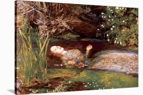 Ophelia-John Everett Millais-Stretched Canvas Print