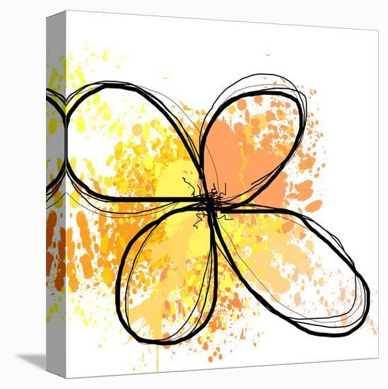 Orange Yellow Abstract Flower-Irena Orlov-Stretched Canvas Print