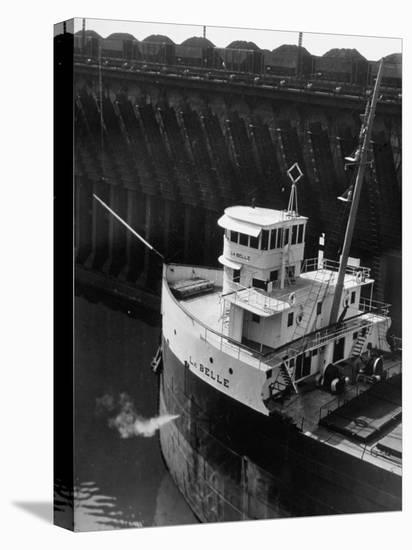 Ore Carrier La Belle Arriving to Take on Cargo of Ore in the Great Lakes-Margaret Bourke-White-Stretched Canvas Print
