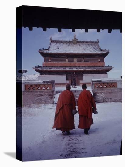 Outer Mongolia, Hidden Land Where Russia and China Square Off, Mongolian Buddhist Monastary-Howard Sochurek-Stretched Canvas Print