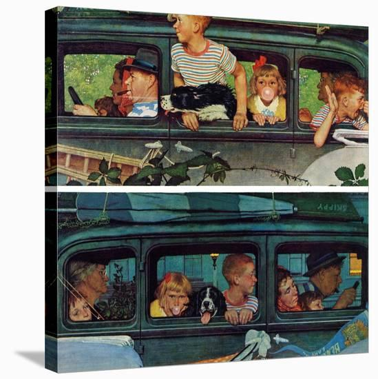 """""""Outing"""" or """"Coming and Going"""", August 30,1947-Norman Rockwell-Stretched Canvas Print"""