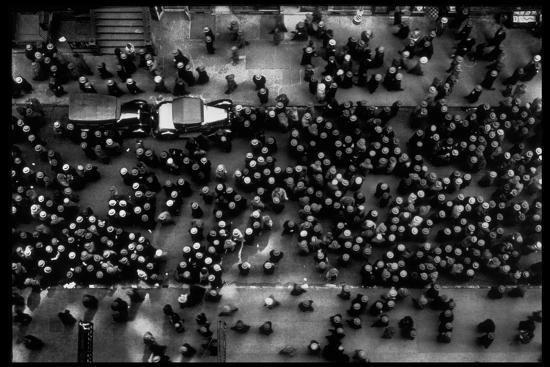 Overhead View of Men Relaxing on 36th Street, Between Eighth and Ninth Aves.-Margaret Bourke-White-Stretched Canvas Print