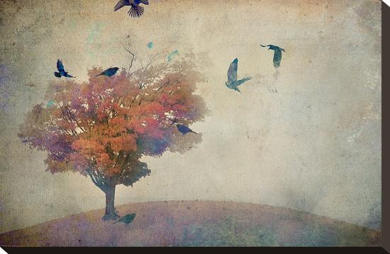 Oversized Crows Flying from Tree-Mia Friedrich-Stretched Canvas Print