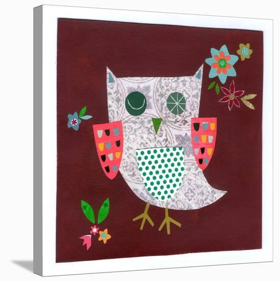 Owl With Pink Wings--Stretched Canvas Print