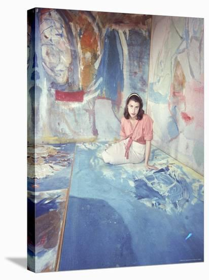Painter Helen Frankenthaler Sitting Amidst Her Art in Her Studio-Gordon Parks-Stretched Canvas Print